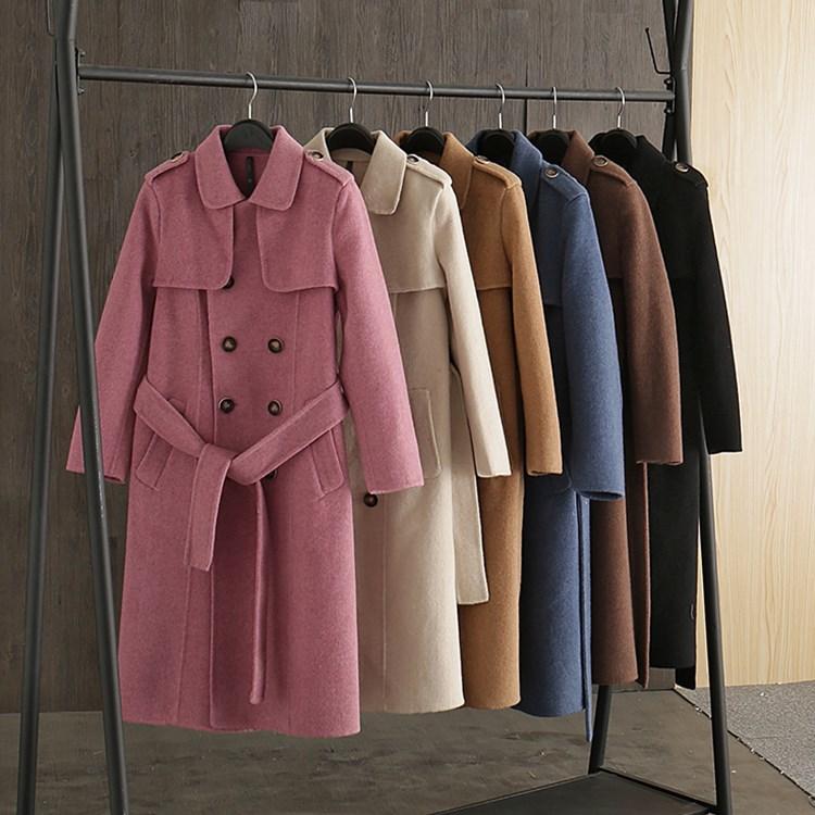 Femmes khaki black Coffee D'affaires Ol Hiver Élégant Cachemire Chaude Long Color gray pink Manteau blue Laine De Pour Manteaux Mode Femme Solide TpgIqUw