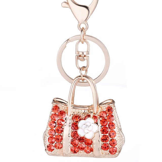 Fashion Crystal Bags Keyfobs Women Handbag Key Chain Ring Holder Car Keyring Llaveros Bag