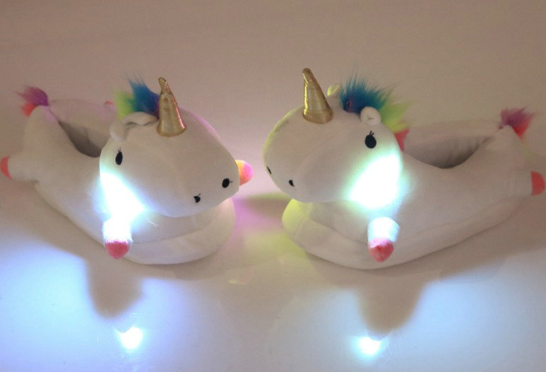 18 new style Winter lovely Home Slippers Cartoon Plush Chausson Licorne White Shoes Women unicorn glowing slippers 6
