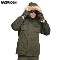 Brand Men S Thick Warm Winter Coat Fur Collar Army Green Men Jacket Male Coat Casual