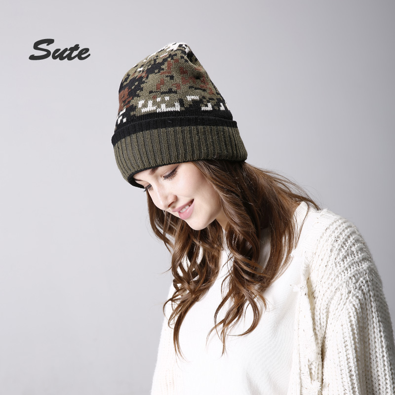 SUTE free shipping Winter wool cap knitted hat Camouflage hat Warm hat Male and female common Outdoor warmth Acrylic hat M-332 wool felt cowboy hat stetson black 50cm