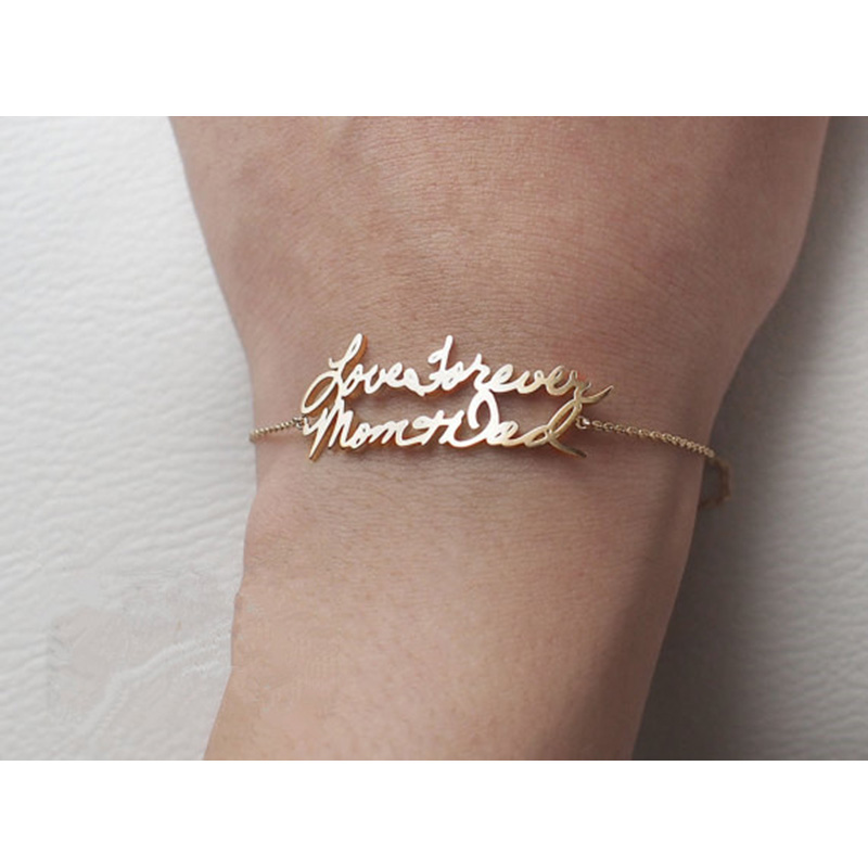 Custom Double Name Bracelet Rose Gold Color Personalized Any Font Letters Couple Bracelets For Children Women Wedding Jewelry