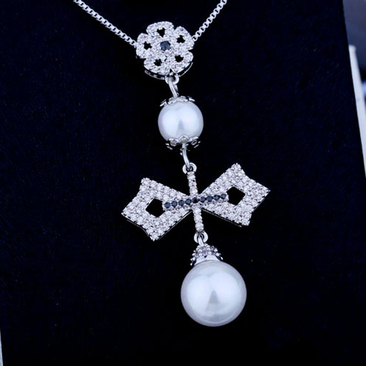 Fashion Jewelry Women Necklace Micro Aaa Zircon Freshwater Pearl Ribbon Flower Long Necklace Chain Bone Sweater