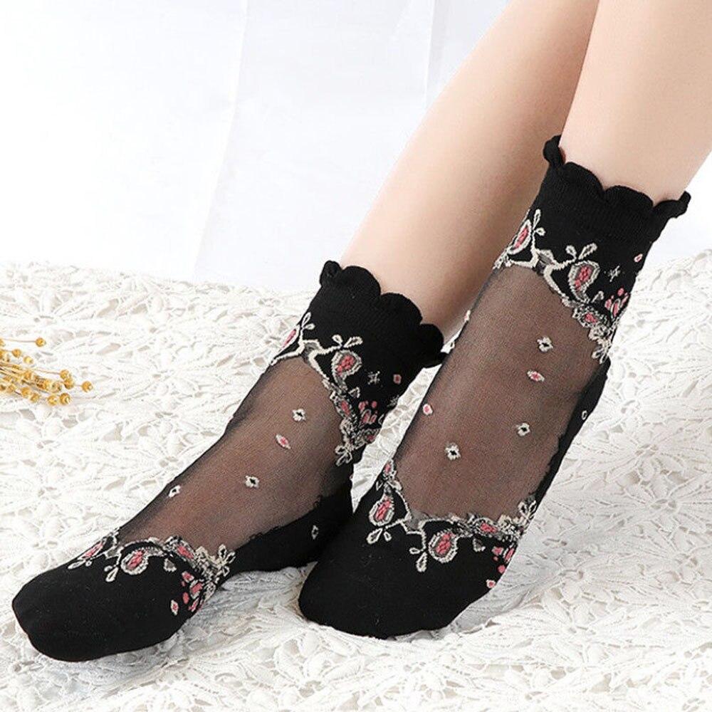 1Pair Fashion Womens Thin Lace Socks Silk Pattern Transparent Crystal Stockings