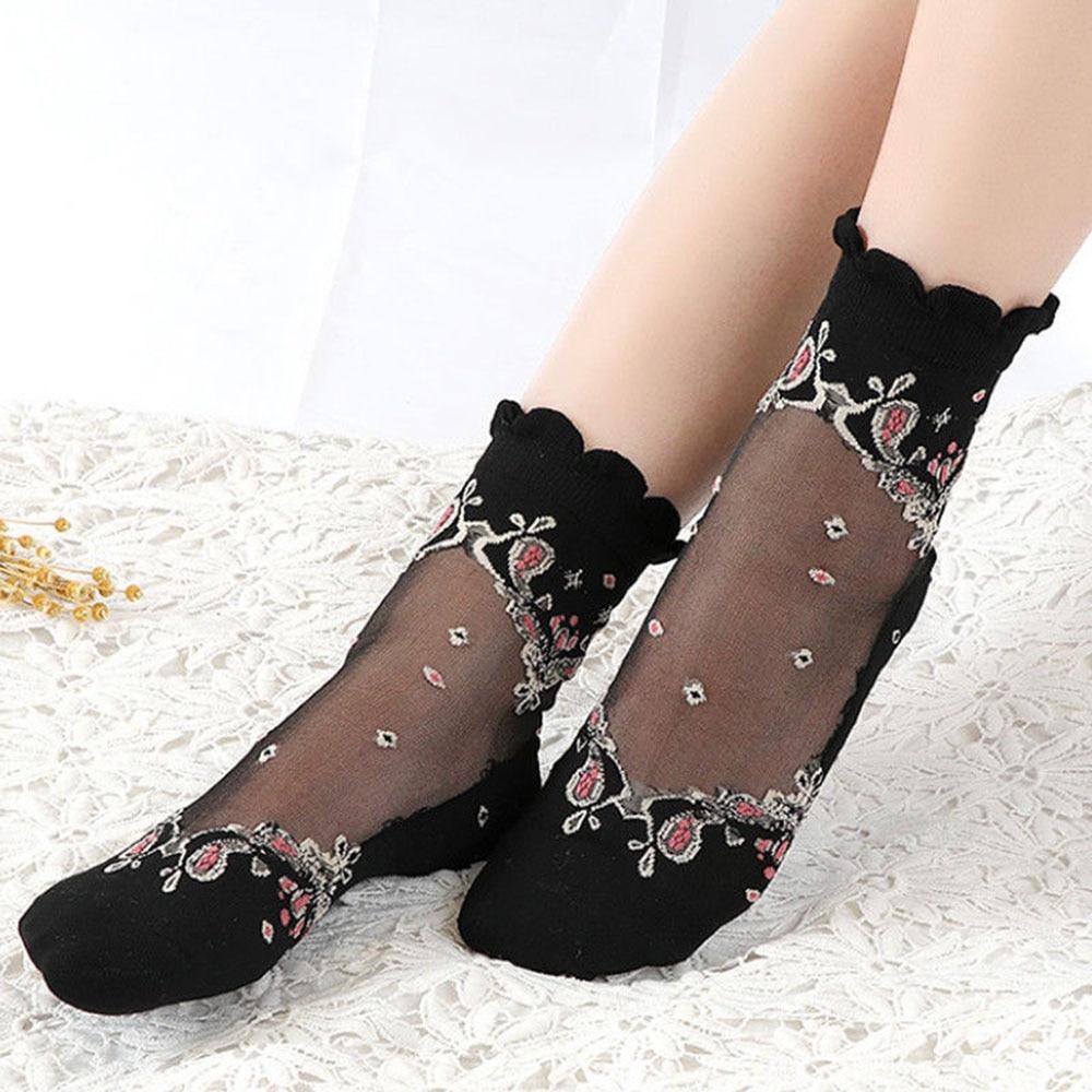 1Pair Fashion Women Ultrathin Lace Transparent Baroque Elastic Short Sox Elastic Crystal Glass Silk   Socks   Chic
