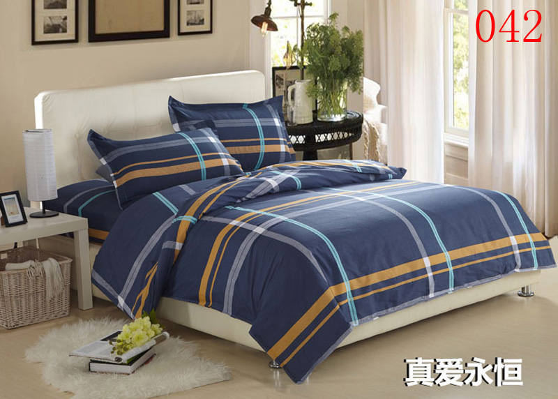 Yellow And Grey Twin Comforter Set: Twin Full Queen Blue Gray Yellow Cotton Fitted Sheets 4pc