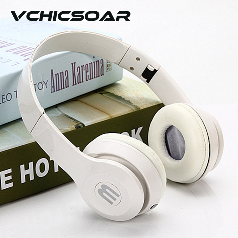 VCHICSOAR Brand Big Headphones with Mic 3 5mm Audio Line Headband Headsets Stereo Earphones for PC