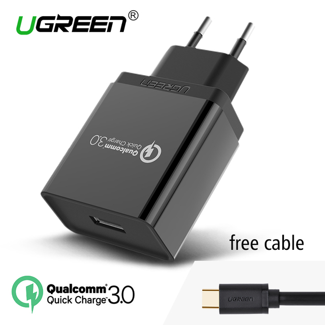 Ugreen cargador de teléfono qualcomm carga rápida 3.0 18 w usb cargador rápido (Carga rápida 2.0 Compatible) para samsung xiaomi 5 huawei lg