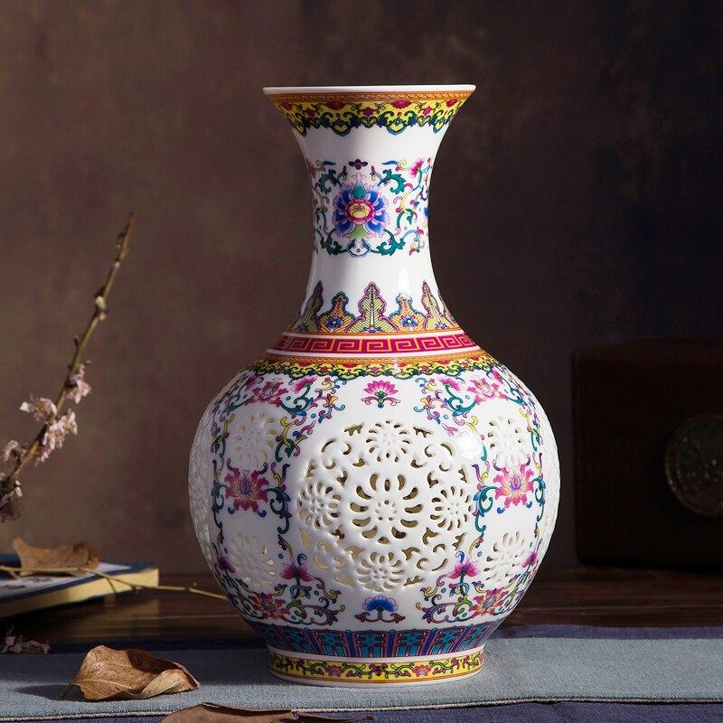 Роскошный китайский стиль дворец восстановление древних способов Цзиндэчжэнь пирсинг белый керамический коллекционные вазы для украшени...
