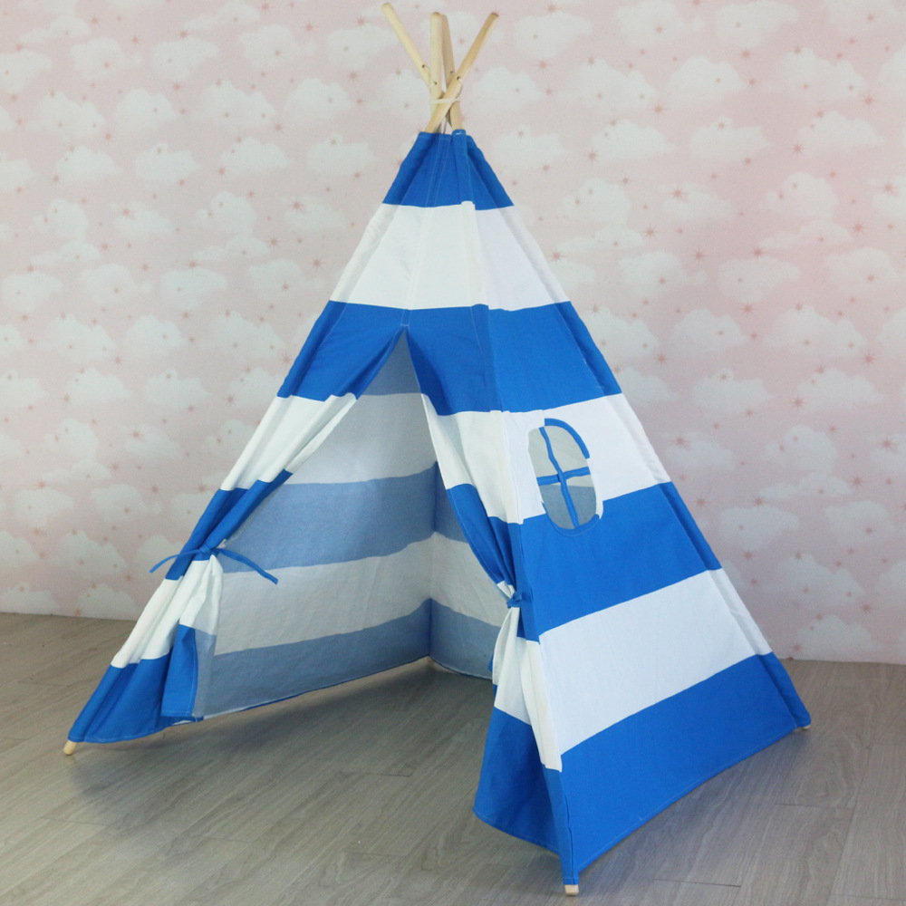 Blue Stripes Teepee Kids Teepee Canvas Teepee Tent Childrens Tipi Kinder Tipi yellow chevron pet teepee dog bed house teepee for dogs rabbit teepee