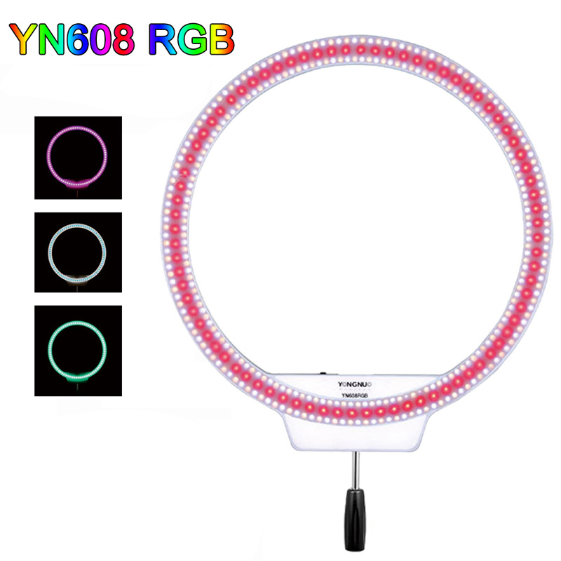 YONGNUO YN608 RGB LED Video Light Photography Video Ring Light +RGB Full Color with Remote Controller for Live Video Selfie цена и фото