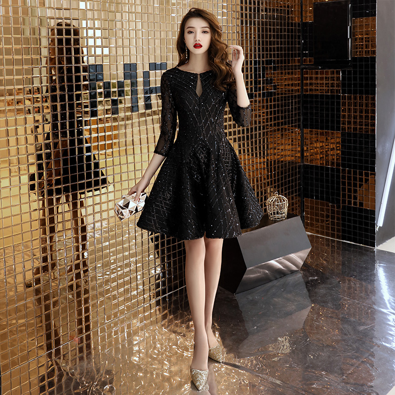 Black Sequins   Cocktail     Dresses   2019 New Arrival Sexy A-line Spaghetti Party Gown Bodycon Vestido Coctel Corto