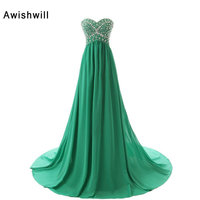 100 Real Photo A Line Beadings Chiffon Prom Dress 2017 Floor Length Long Evening Gowns For
