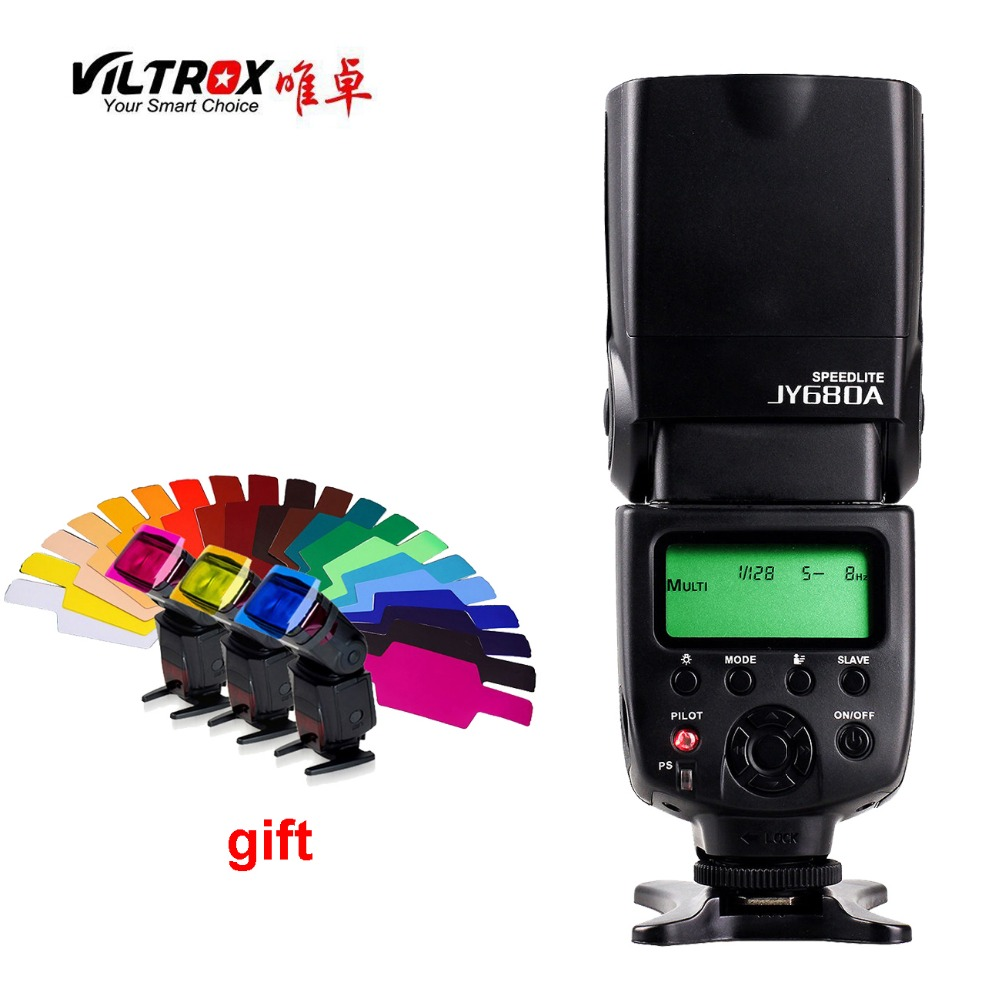 VILTROX JY-680A Universal Camera LCD Flash Speedlite For Canon Nikon Pentax Olympus DSLR + Free 20 Color Gels Filter genuine meike mk950 flash speedlite speedlight w 2 0 lcd display for canon dslr 4xaa