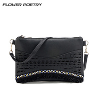 2017 Fashion Small Bag Women Messenger Bags Soft PU Leather Tassel Hollow Out Crossbody Bag For