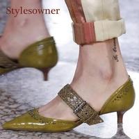 Stylesowner Pointed Toe Party Shoes Small Kitten Heel Belt Buckle Lady Sexy Shoe Rivets White Black Green Runway Single Shoe