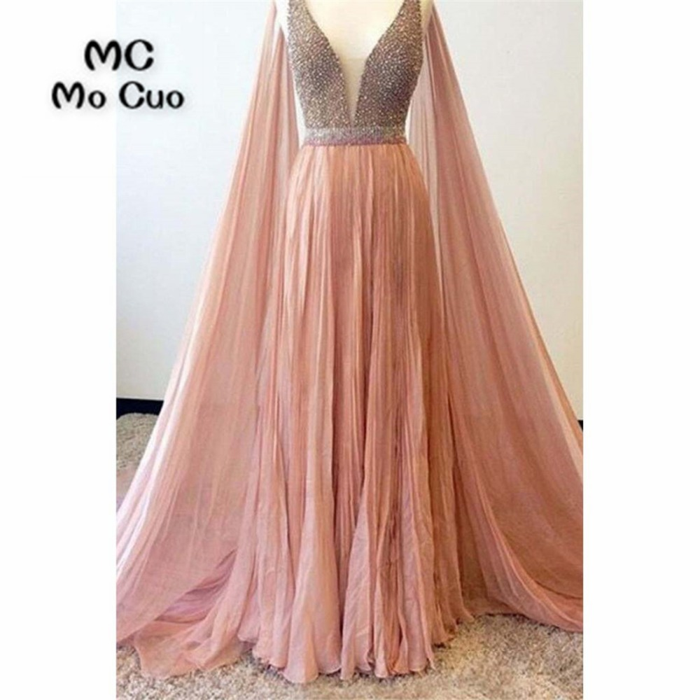 2018 Elegant   Prom     dresses   Long with Crystals Beaded   dress   for graduation with Wrap Chiffon Formal Evening Party   Dress   for Women