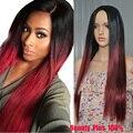 Длинный красный слоистых прическа корень темно-красный бургундия парик синтетический красный ни один парик фронта шнурка ломбер парик Для Чернокожих Женщин Средняя Часть