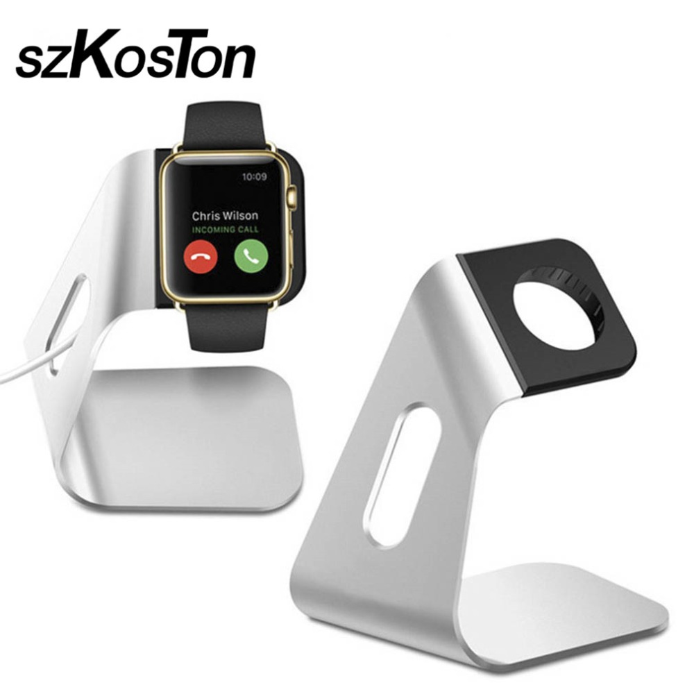 New Luxury Aluminum Alloy Stand Holder For Apple Watch Charging Support For Apple Watch Convenient Cable Hole Silver Smart Watch