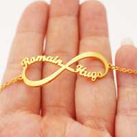 Joyería personalizada infinito nombre pulsera Mujer hombre personalizado Acero inoxidable Rosa oro Boho placa Pulseras Mujer Moda 2018