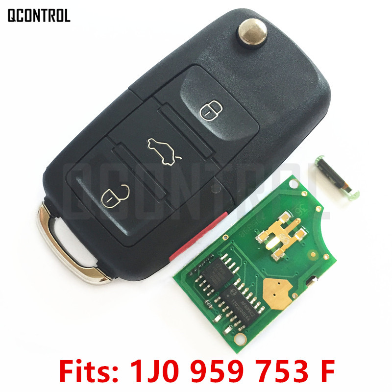 QCONTROL Car Remote Key DIY for VW/VOLKSWAGEN Beetle/Golf/Passat/Jetta/Rabbit 1J0959753F/5FA 8137-30 with Chip