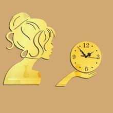 DIY Wall Clock Digital Clocks Watch Horloge Acrylic 3D Mirror Wall Stickers Portrait Living Room Still Life Quartz Needle