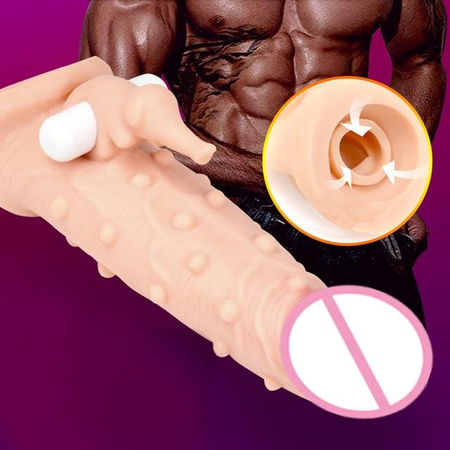 Delay Lock Condoms for Men Delay Ejaculation Penis Extender Reusable Condoms Penis Sleeve Condom Extender for Men 5