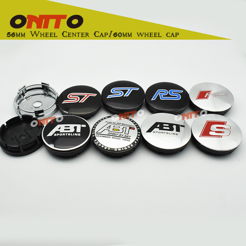 Free shipping 56MM 60mm car emblem Wheel Center Hub Caps Dust-proof Badge logo covers FOR ST/ RS / SLINE / RLINE / ABT / R / S