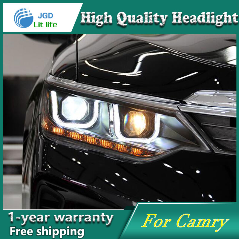 high quality Car styling case for Toyota Camry 2015 2016 Headlights LED Headlight DRL Lens Double Beam HID Xenon Car Accessories for toyota camry led headlights car styling 2015 for camry xenon headlights led drl light guide bifocal lens headlight light