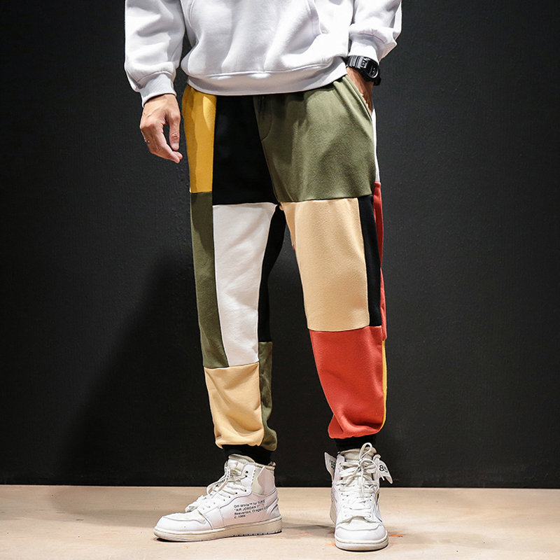 Harem Pants Streetwear Trousers Patchwork Hip-Hop Loose Mens Casual Male Drawstring