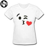 SAMCUSTOM Biểu Tượng Cảm Xúc Hôn T-Shirts Phụ Nữ Harajuku Vui Sản Phẩm Đứng Đầu Phụ Nữ Thường Ngắn Tay Áo T-Shirt Tops vận chuyển miễn phí