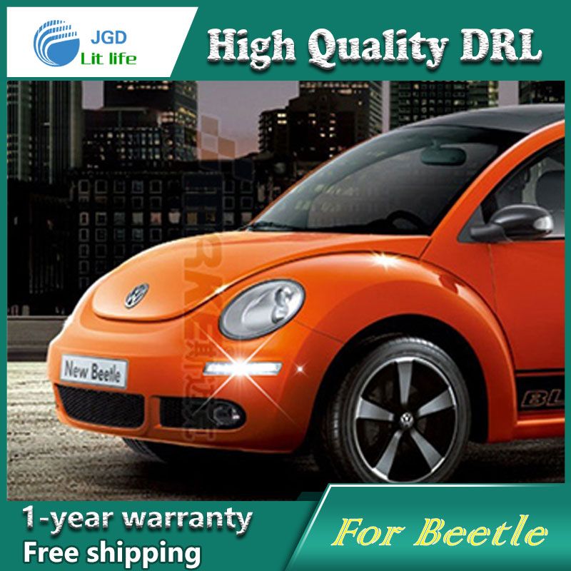 Free shipping !12V 6000k LED DRL Daytime running light case for VW Beetle 2007-2014 2015 fog lamp frame Fog light Car styling car drl kit for volkswagen magotan 2007 2011 daytime running light bar daylight fog lamps bulbs for car 12v vw led drl