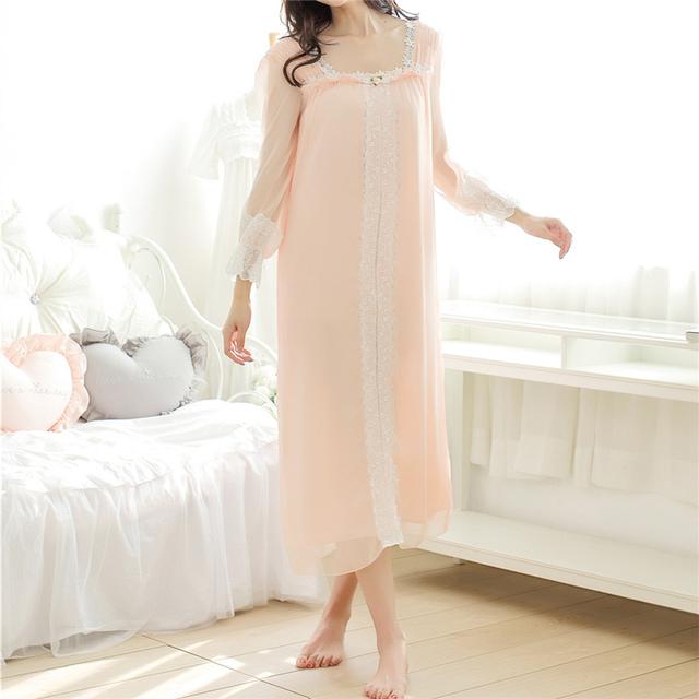 New Arrivals Lace-neck Mulheres Nightgowns Sexy Night Dress Sono Macio Camisas Sólidos Roupa Interior Camisola Branca Feminino # HH28