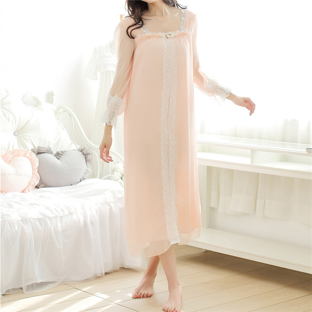 New Arrivals Lace-neck Women Nightgowns Sexy Night Dress Soft Sleep Shirts Solid Indoor Clothing White Nightgown Female #HH28
