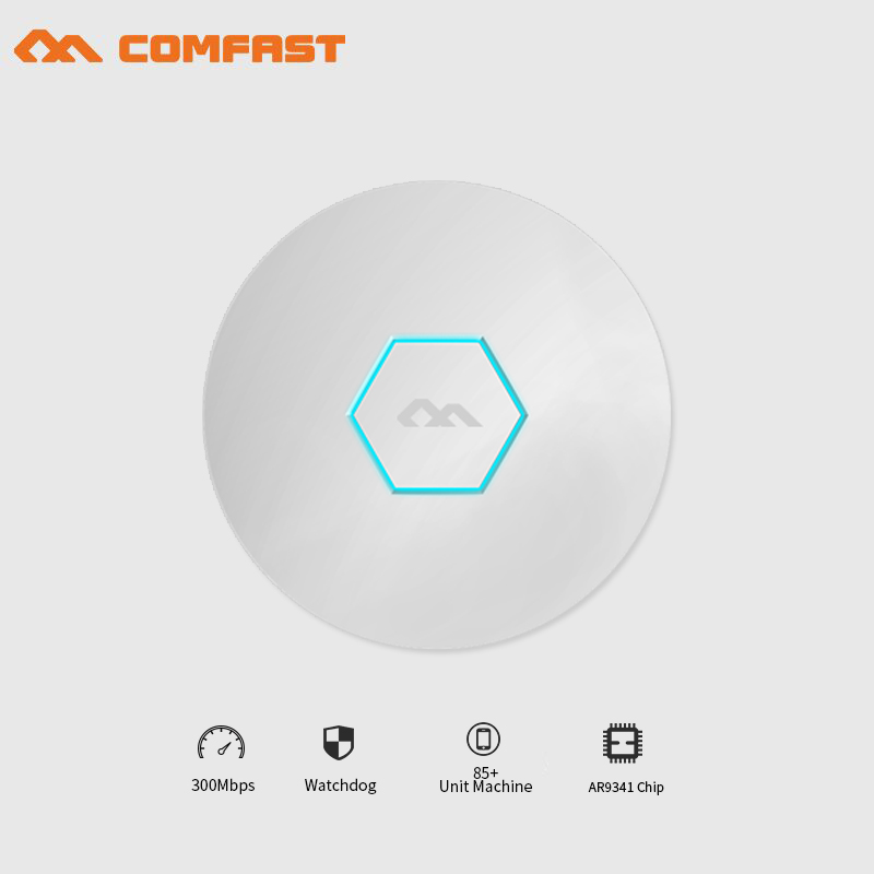 все цены на COMFAST high power wireless Ceiling AP 300Mbps wireless indoor AP with 48V POE watchdog AR9341 chipset wi-fi router for hotel онлайн