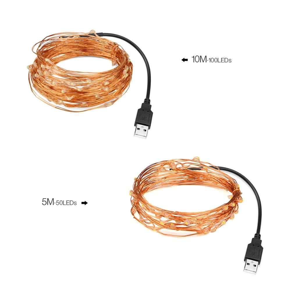Cuerda de luces LED para exteriores, resistente al agua, 5M, 10M, 20M, cable de cobre con alimentación USB/Solar para guirnalda de bodas, decoración festiva