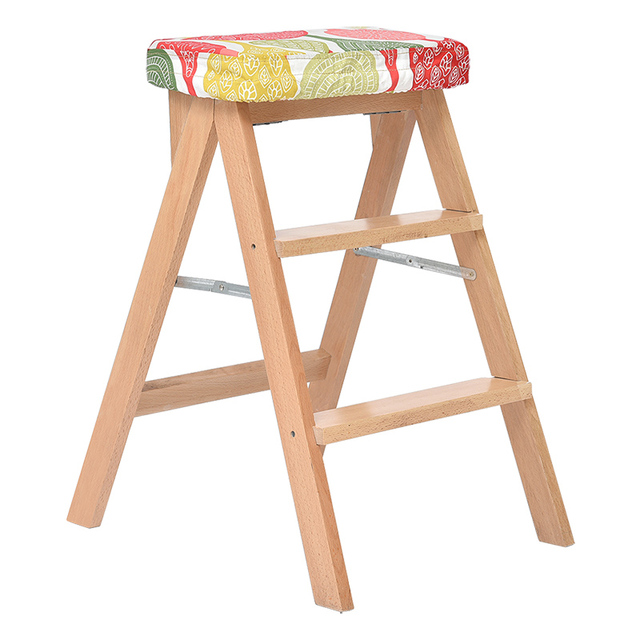 Foldable Kitchen Step Stools Creative Heightening Wooden Stool Portable Multifunction Household Washable Cloth Seat
