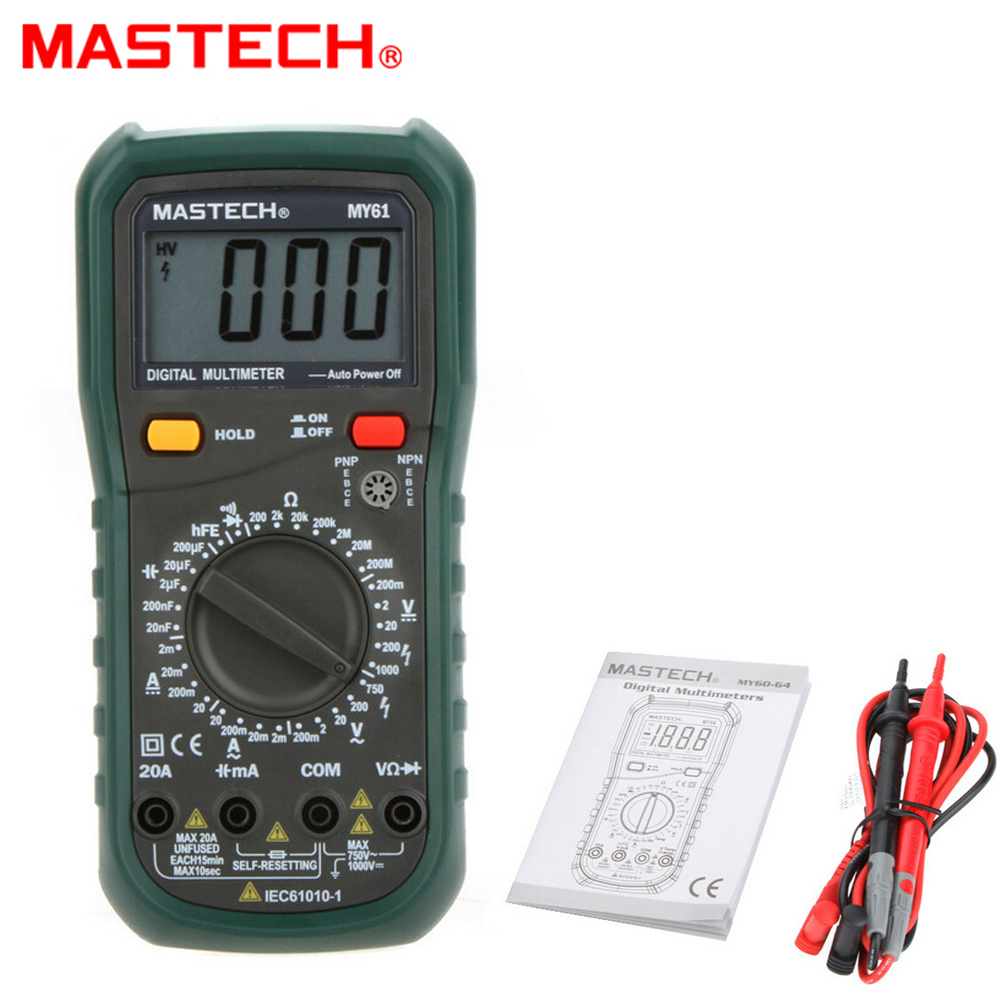 MASTECH MY61 AC/DC Professional Electric Handheld 2000 counts Meter Digital Multimeter Voltmeter Ohm Electrical Tester