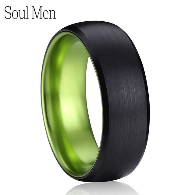 Mens Wedding Band 8mm Black With Green Tungsten Rings For Women Comfort Fit Matte Dome Anel