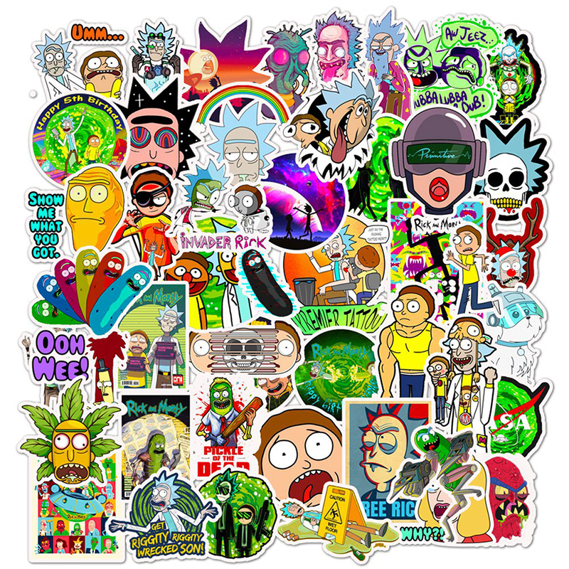 50pcs/pack Drama Rick And Morty Stickers Decal For Snowboard Laptop Luggage Car Fridge DIY Styling Vinyl Home Decor Pegatina