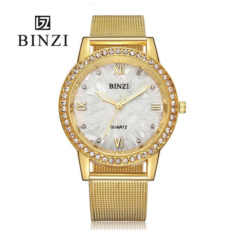 BINZI Gold Women Watch Fashion Lady Dress Quartz Watch Women Rhinestone Casual Wristwatch Crystal Reloje Mujer