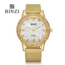 BINZI Or Femmes Montre De Mode Lady Robe De Quartz Montre Femmes Strass Casual Montre-Bracelet En Cristal Reloje Mujer Relogio Feminino