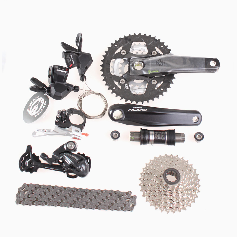 SHIMANO <font><b>DEORE</b></font> <font><b>M590</b></font> shifting system with Alivio M430 Crankset 27S Groupset Derailleurs for MTB Mountain Bike speed of 3 x 9S image