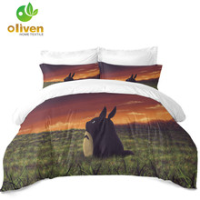 3D Cartoon Bedding Set Cute Totoro Design Duvet Cover Natural Scenery Print Kids Bedroom Decor Pillowcase 3Pcs D40