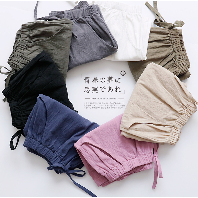 2020 Cotton Linen Shorts Women Summer Shorts Trousers Feminino Women's High Elastic Wasit Home Loose Casual Shorts With Pockets 4