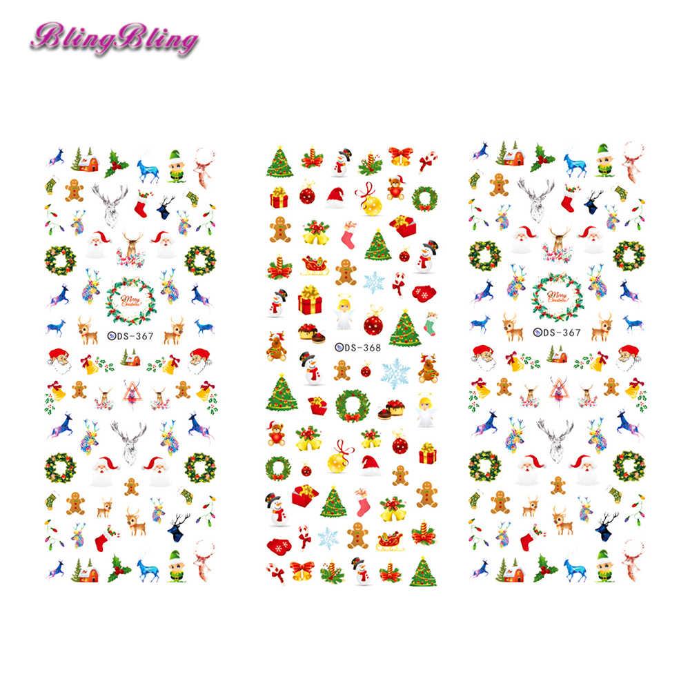 9753b1b73b Blingbling 2pcs Christmas Nail Art Theme Water Decals Xmas Nail Sticker  Santa Snow Design Beauty Nail Wraps Decoration New Year