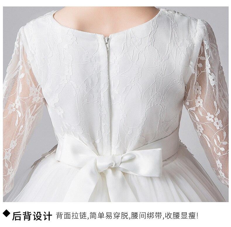 Nouvelle mode filles robe blanche princesse robes enfants traînant robe pour fête et mariage enfants robe de bal fille robe d'été - 4