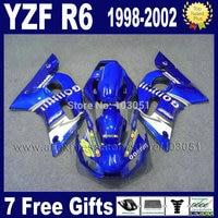Road ABS fairing for YAMAHA YZFR6 1998 1999 02 01 00 99 98 Blue YZF R6 2000 2001 2002 fairings