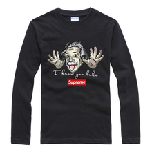 2016 Autumn Style Men's T Shirt Funny Einstein Fashion Printing Long Sleeved O Neck Cotton Material