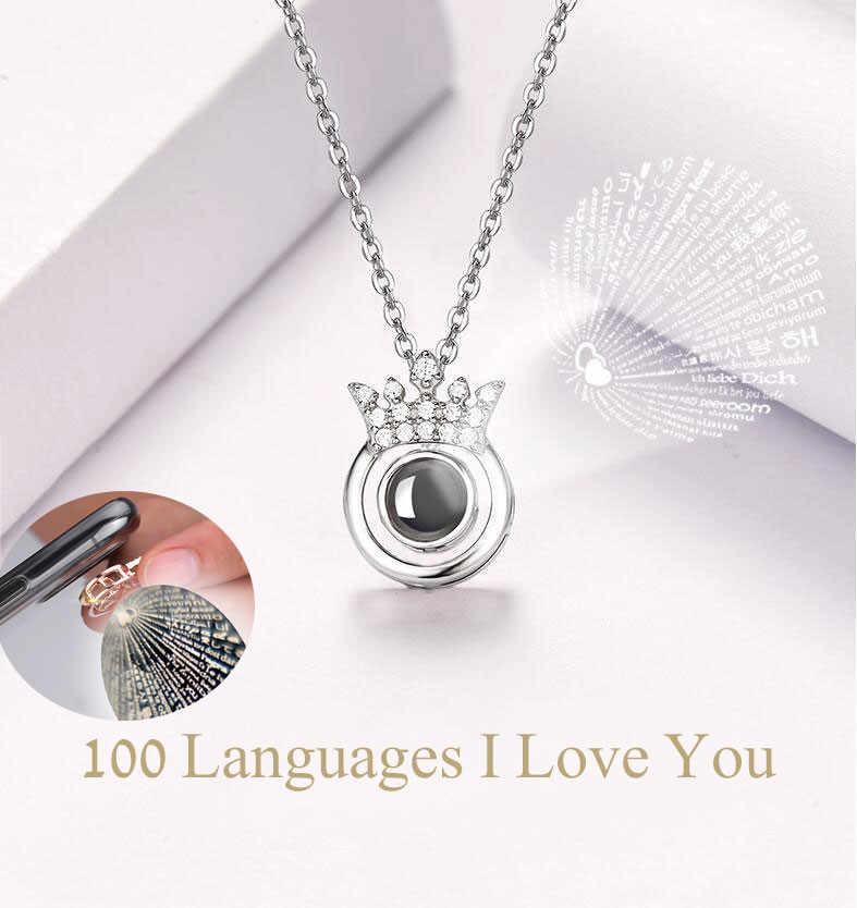 Stylish Women Pendant Necklace Fashion 100 Languages I Love You Kolye Lady Jewelry Choker Chain Boho Girl collares de moda L0423